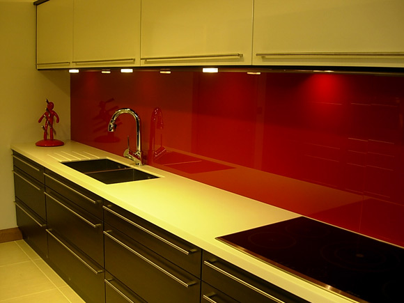Contemporary Red Splash Back Kitchen